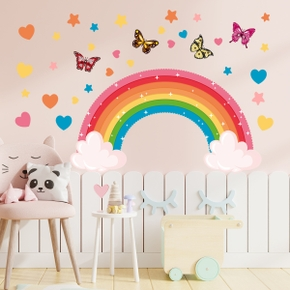 Rainbow Butterfly Stars Wall Stickers Living Room Children's Room Background Wall Decoration Painting Star Home Wall Decals
