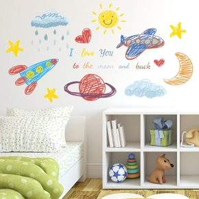 Hand-Painted Airplane Planet Sun Wall Stickers Children Room Living Room Bedroom Creative Wall Stickers PVC
