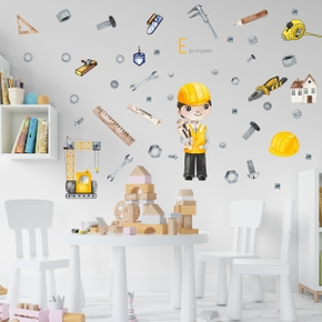 Construction Equipment Crane Multi-type Ruler Self-adhesive Wall Stickers Living Room Bedroom Creative Wall Stickers PVC