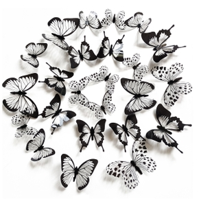 3D Stereo Simulation Black And White Pattern Butterfly Wall Stickers For Refrigerator Door Living Room Decoration