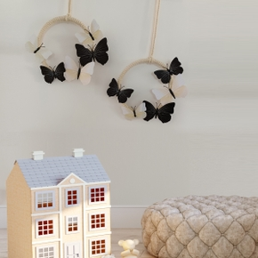 A Set of 2 Pieces of Woven Cotton Rope 3D Butterfly Wall Hanging Decoration Creative Home Wall Decoration