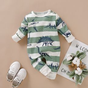 Ribbed Dinosaur and Stripe Print Long-sleeve Baby Jumpsuit