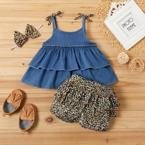 3-piece Denim Layered Flounced Top and Leopard Print Shorts Set