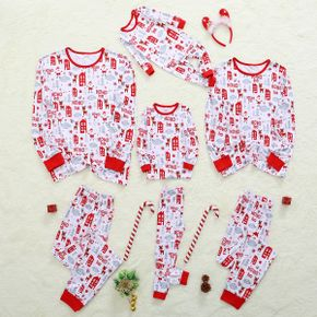 Mosaic Cute Cartoon Reindeer HoHo Family Matching Christmas Pajamas Sets
