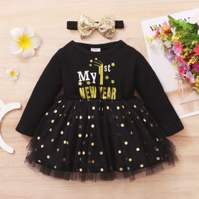 2pcs  New Year Baby Girl Long-sleeve Cotton  Letter Sweet Dress