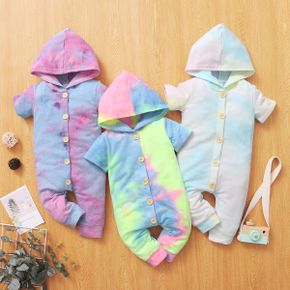 Tie Dyed Color Block Hooded Short-sleeve Baby Jumpsuit