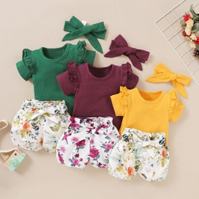 Solid Short-sleeve Top and Allover Shorts with Headband Set