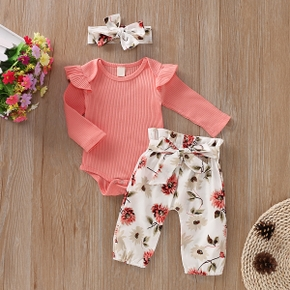 Solid Bodysuit and Allover Pants with Headband Set For Baby