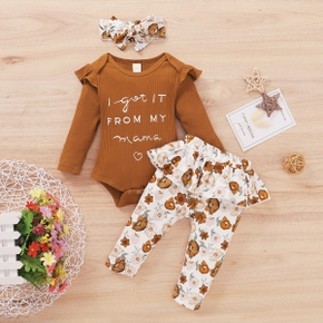 Ribbed 3pcs Letter and Floral Print Long-sleeve Baby Set