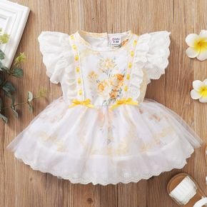 1pc Floral Baby Girl Flutter-sleeve Tulle Princess Cute Dress