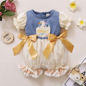1pcs Baby Girl Short-sleeve Bowknot Animal Print Rompers