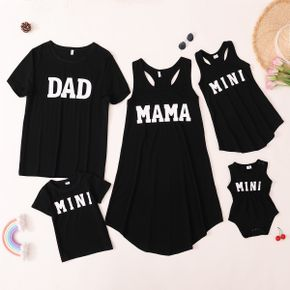 Mosaic Letter Print Black Cotton Family Matching Sets(Tank Dresses for Mom and Girl ; T-shirts for Dad and Boy)