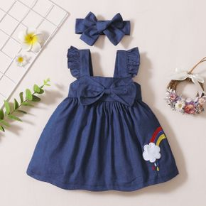 2pcs Baby Girl Solid Cotton Rainbow Flutter-sleeve Bowknot Summer Spring Dress Baby Sets