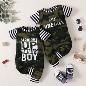 Stripe Camouflage Letter Print Short-sleeve Baby Jumpsuit