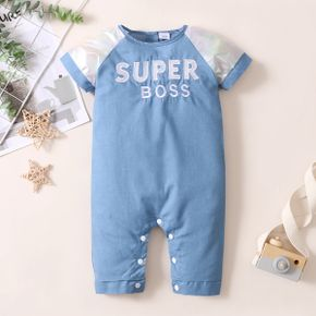 Baby Short-sleeve Letter Print Denim Casual Jumpsuit