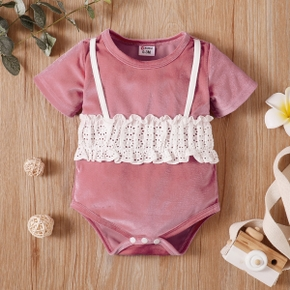 Solid Color Lace Stitching Peach Surface Short-sleeve Baby Romper