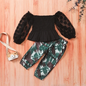 2-piece Toddler Girl Off Shoulder Ruffled Lace Long-sleeve Top and Camouflage Print Pants with Pocket Set