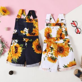 100% Cotton Sunflower Print Black or White Baby Overalls Shorts