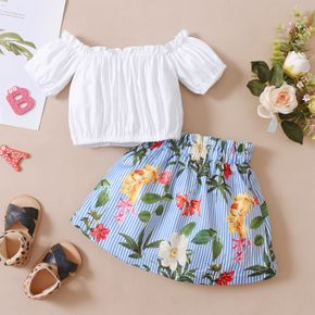 2 piece Toddler Girl Off Shoulder Solid Top and Floral Print Elasticized Shorts