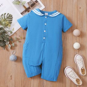 Toddler Boy Preppy style Solid Jumpsuit