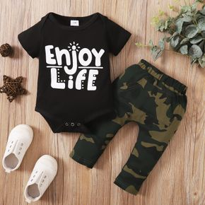 2pcs Camouflage and Letter Print Short-sleeve Baby Set