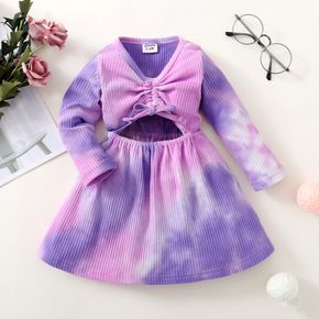 Ribbed Tie Dyed Hollow Out Design Long-sleeve Purple Baby Dress