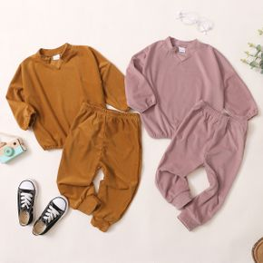 2-piece Toddler Girl Batwing Sleeve V Neck Long-sleeve Top and Solid Elasticized Pants Corduroy Set