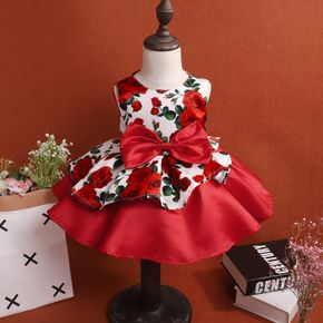 Floral Allover Bow Decor Sleeveless Red Baby Formal Dress