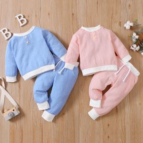 100% Cotton 2pcs Dots Print Long-sleeve Baby Pullover and Trouser Set