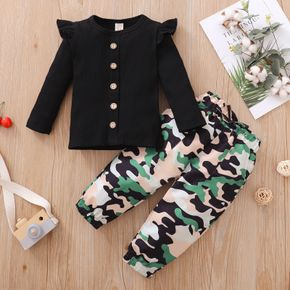 2-piece Toddler Girl Button Design Ruffle Long-sleeve Ribbed Black Top and Camouflage Paperbag Pants Set