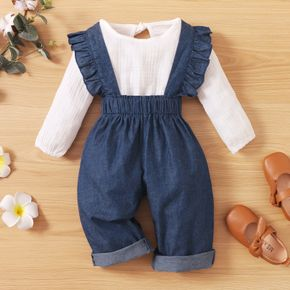2-piece Toddler Girl Long-sleeve White Bloue and Ruffled Button Design Denim Overalls Casual Set