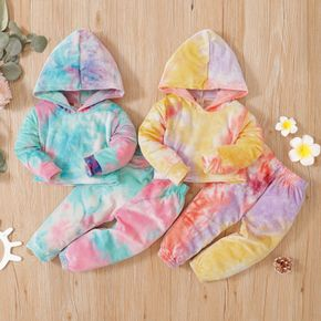 2-piece Toddler Girl Tie Dye Hoodie and Elasticized Pants Casual Set