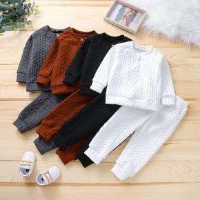 2-piece Toddler Girl/Boy Solid Ribbed Sweater and Elasticized Pants Casual Set