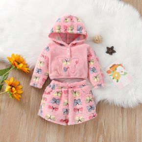 Baby 2pcs Butterfly Long-sleeve Hooded Pink Fleece Hoodie and Shorts Set