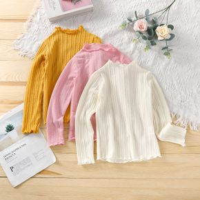 Kid Girl Cable Knit Lettuce Trim Solid Sweater