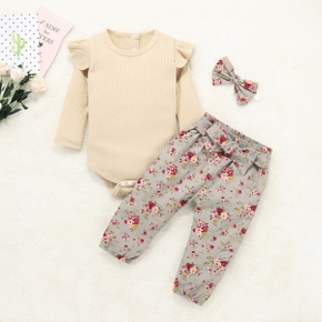 Baby Girl Solid Long-sleeve Bodysuit and Flower Print Belted Pants Set