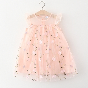 Toddler Girl Floral Print Embroidered Mesh Party Princess Dress