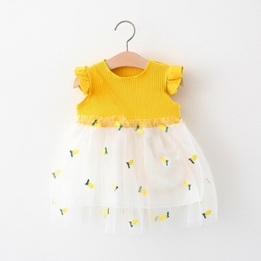 Pineapple Embroidered Mesh Layered Flutter-sleeve Baby Dress
