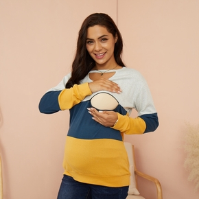 Maternity Round collar Color block Long-sleeve Nursing Tee