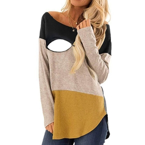 Stylish Colorblocked Long-sleeve Nursing Top