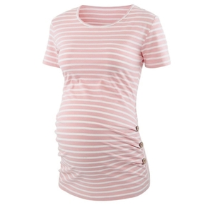 Maternity Round collar Stripes Plain Pink T-shirt