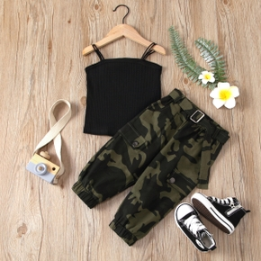2-piece Toddler Girl Black Camisole and Camouflage Pants Set