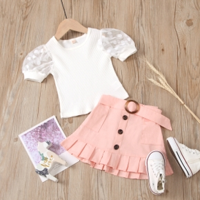 2-piece Toddler Girl Mesh Polka dots Short-sleeve Top and Ruffled Skirt with Waistband Set