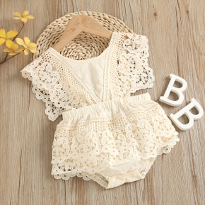 100% Cotton Solid Color Hollow Out Lace Baby Romper