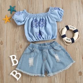 2-piece Toddler Girl Floral Print Camisole and Denim Shorts Set