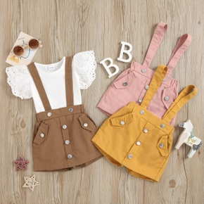 2-piece Toddler Girl Casual Top and Overalls Set