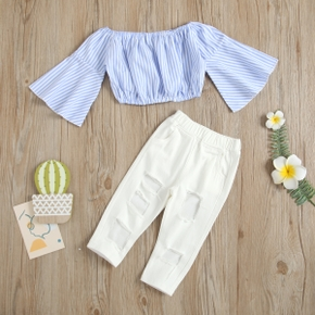 2-piece Toddler Girl Casual Stripe Top and Holey Denim Pants Set