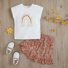 2-piece Toddler Girl Rainbow Letter Stars Print Top and Floral Print Skirt Set