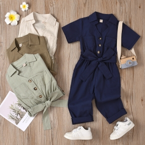 Toddler Girl Lapel Collar Button Design Short-sleeve Solid Jumpsuit with Belt