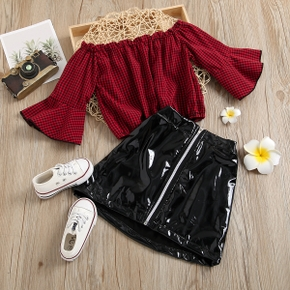 2-piece Toddler Girl Plaid Ruffle-sleeve Top and Zipper Leather Skirt Set